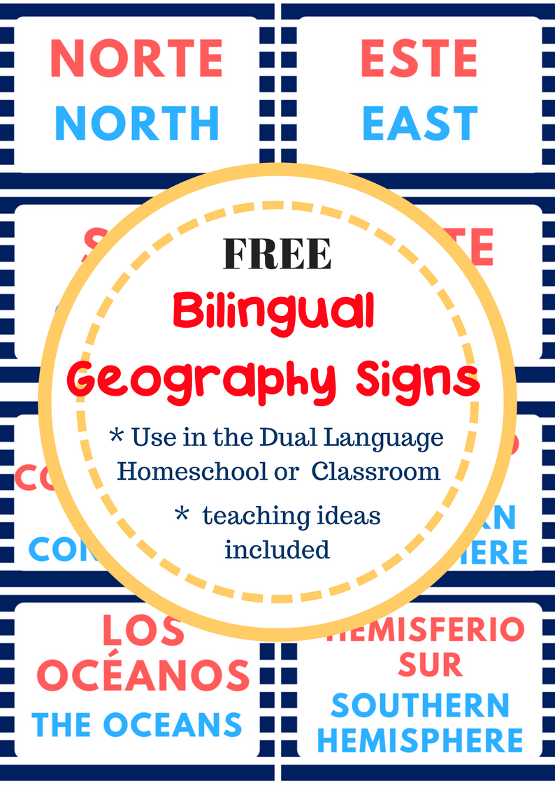 image regarding Classroom Signs Printable identified as Instruction Geography within just the Bilingual Twin Language Clroom